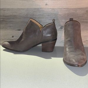 Lucky Brand Leather Brown / Grey Booties